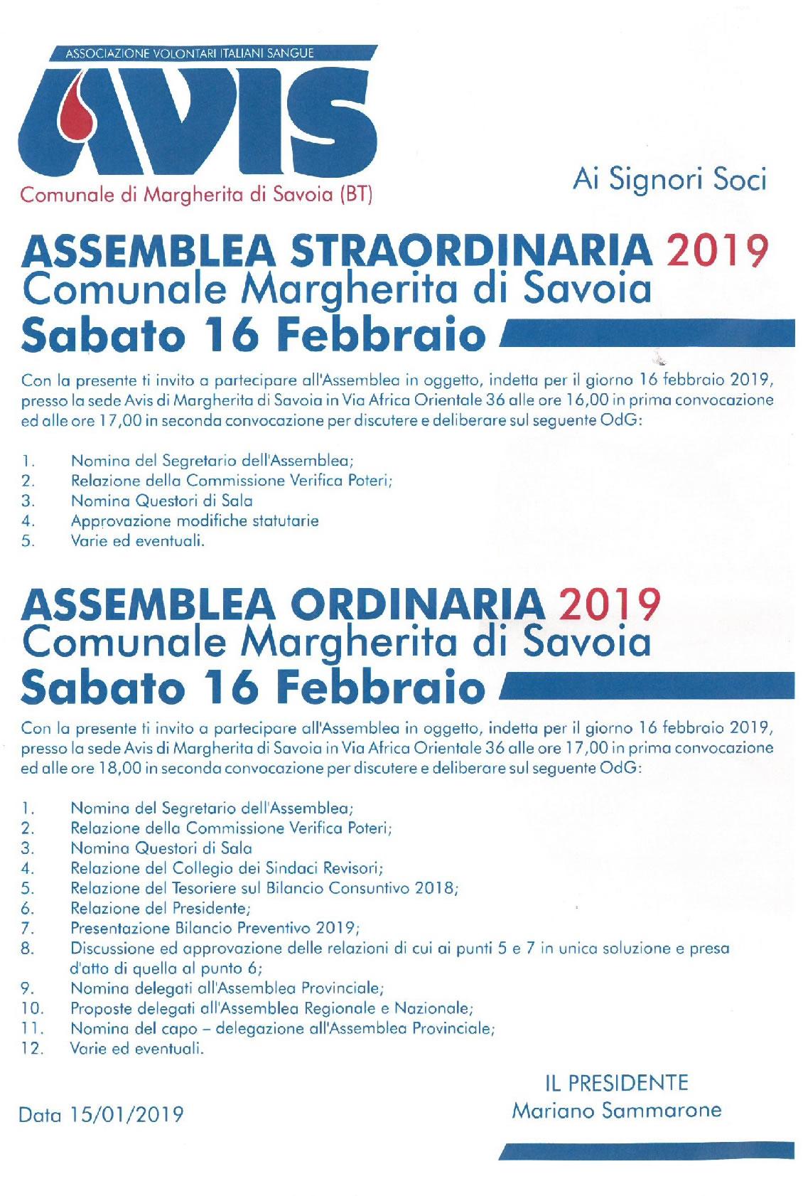 Assemblea ordinaria e straordinaria 2019