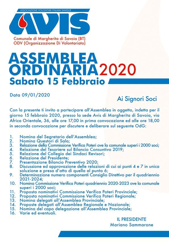Assemblea ordinaria 2020 Sabato 15 Febbraio