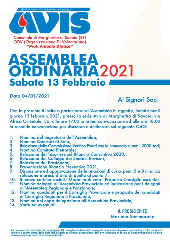 Assemblea Ordinaria 2021 Sabato 13 Febbraio